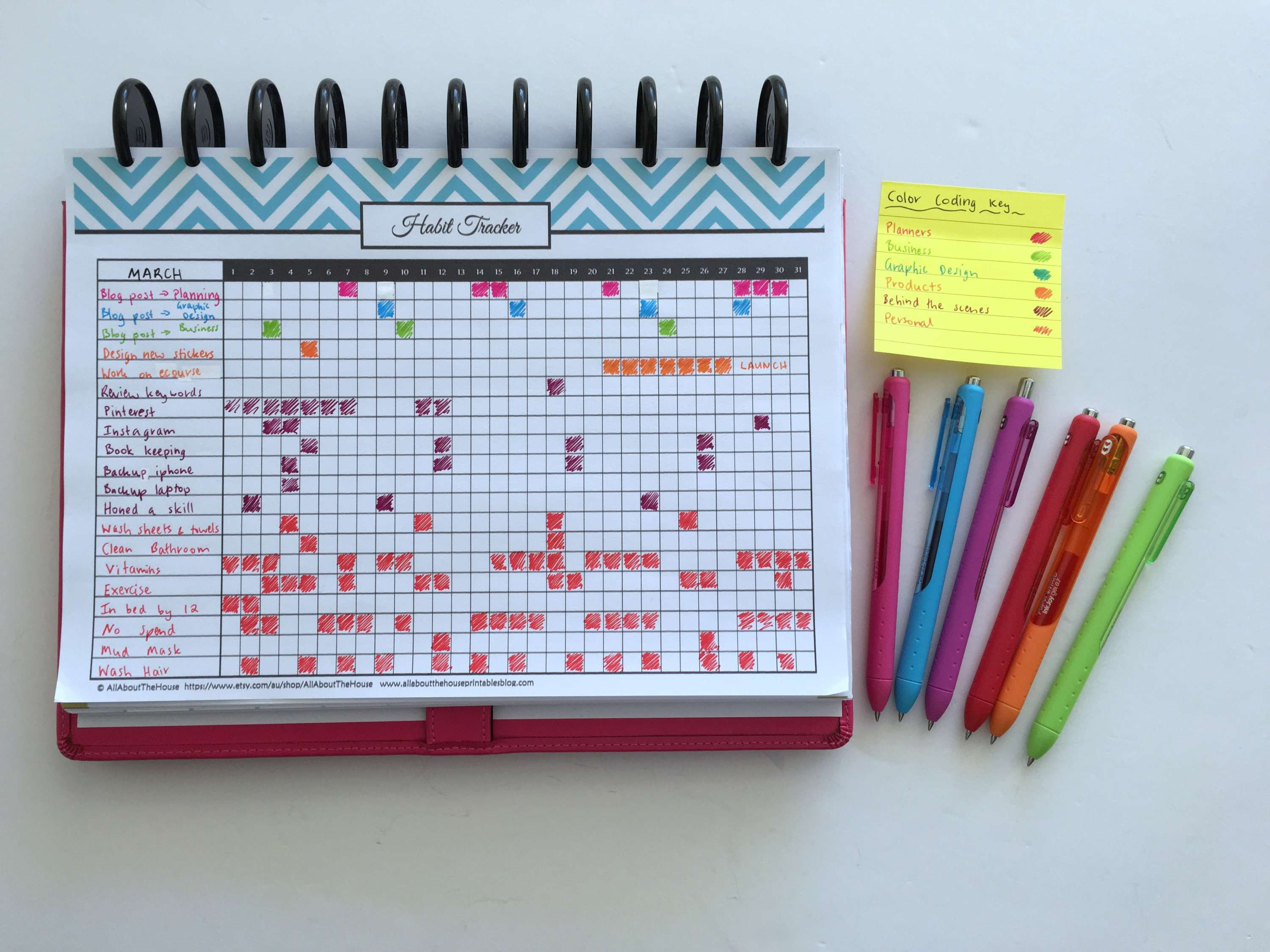 100 things to put in your habit tracker of your planner or bullet ...