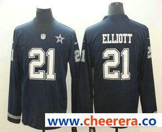241a84d4c7a Men's Dallas Cowboys #21 Ezekiel Elliott Nike Navy Therma Long Sleeve  Limited Jersey