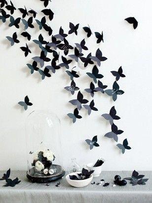 des id es pour d corer les murs avec du papier papillon mur et fleur. Black Bedroom Furniture Sets. Home Design Ideas