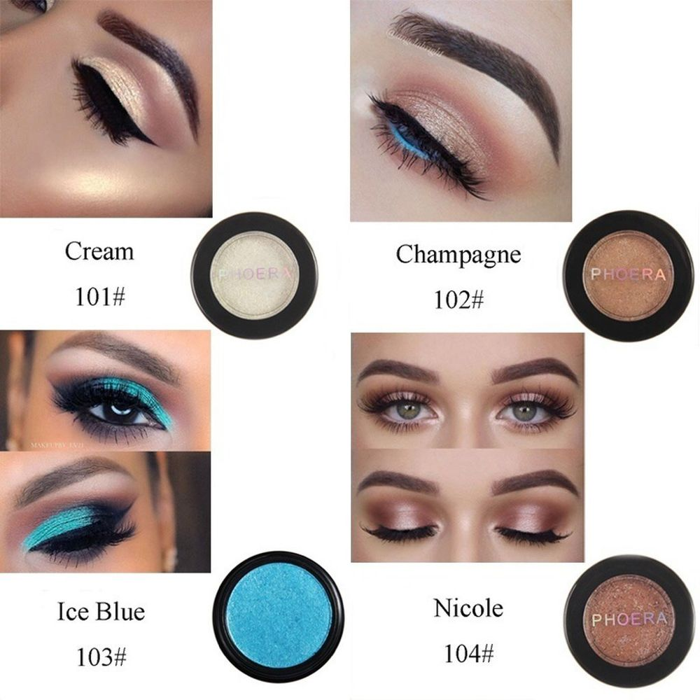 Phoera 24 Colors Glitter Eyeshadow Shimmer Eye Makeup In 2020 Glitter Eyeshadow Shimmer Eye Makeup Matte Eyeshadow