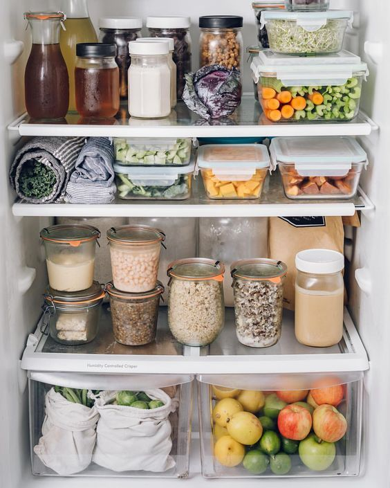 Fridge Organization Inspiration Ideas  Buttered Side Up is part of Fridge organization - Here's some fridge organization inspriation for you  some are plasticfree, some use uncommon household items, but are are pretty!