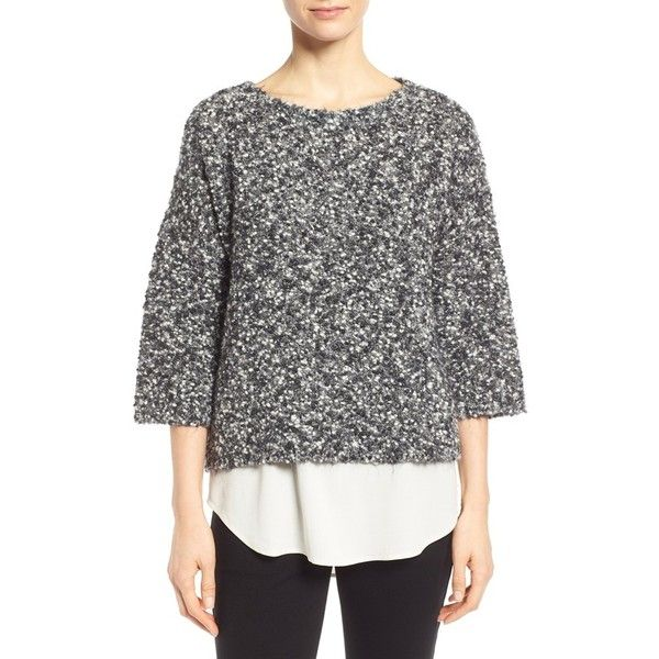 Eileen Fisher Textured Crop Wool & Mohair Blend Sweater (1.655 NOK) ❤ liked on Polyvore featuring tops, sweaters, ash, crop top, eileen fisher sweaters, black wool sweater, fuzzy sweater and boat neck sweater