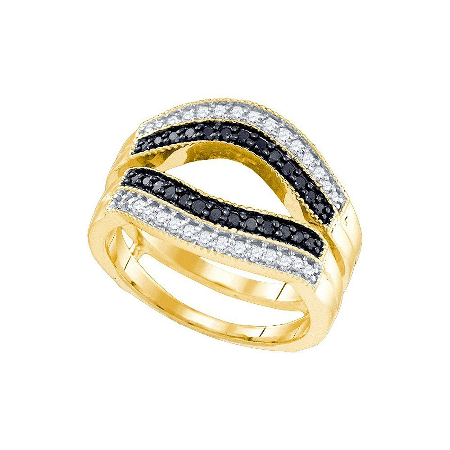 10kt Yellow Gold Womens Round Black Colored Diamond Ring