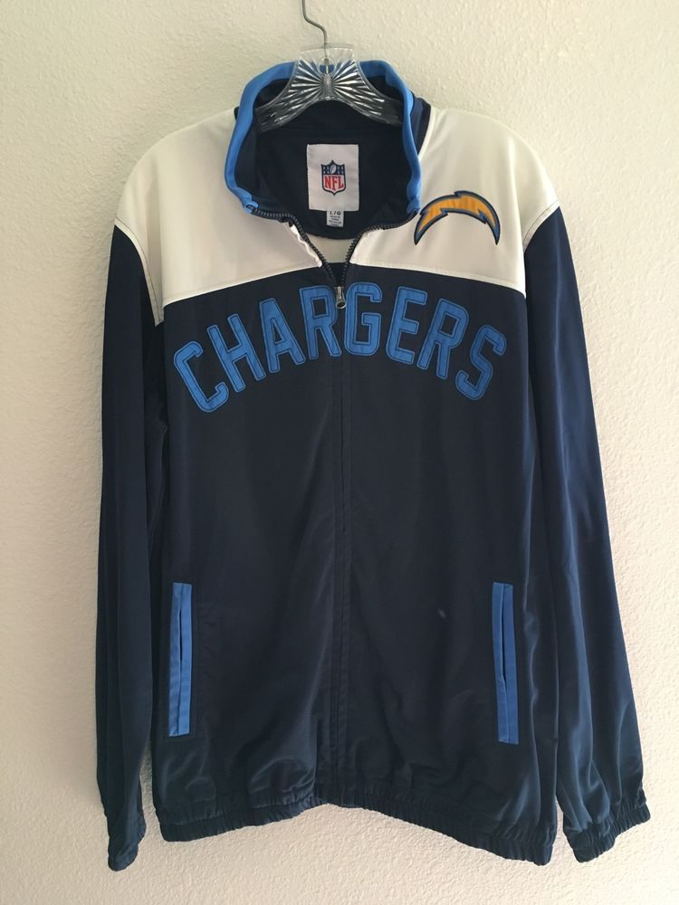 San Diego Chargers NFL Football Licensed Lightweight Zip Jacket SZ L 100% Poly #GIII #SanDiegoChargers