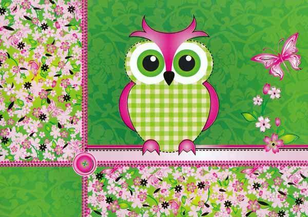Pöllö ja kukat (2-osainen kortti) 2,00