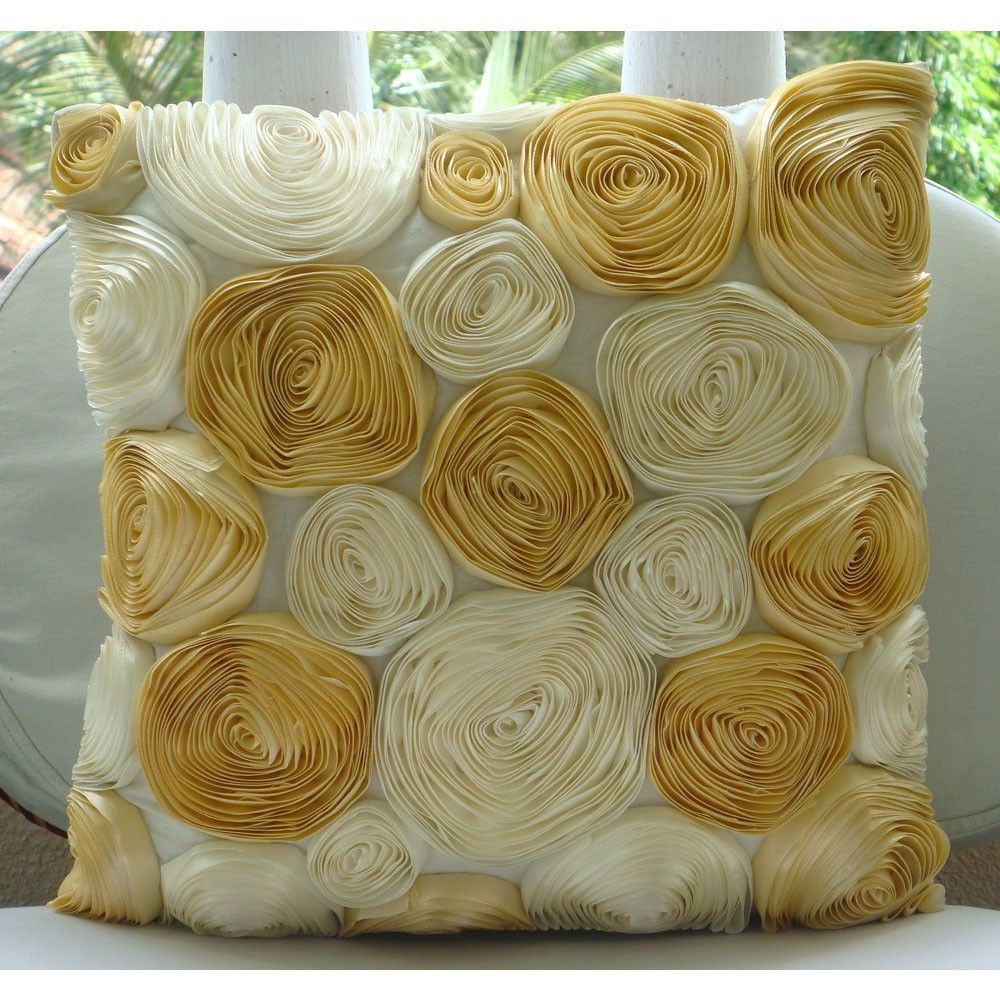 Gold N Ivory Blooms - Throw Pillow Covers - 16x16 Inches with Satin Ribbon Embroidery. $28.95, via Etsy.
