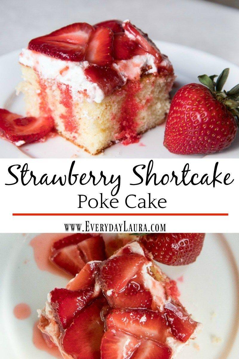 This Strawberry Shortcake Poke Cake is the perfect refreshing summer dessert! Easy dessert recipes, strawberries, summer recipes, easy recipes, make a cake with fresh strawberries, strawberry recipes.