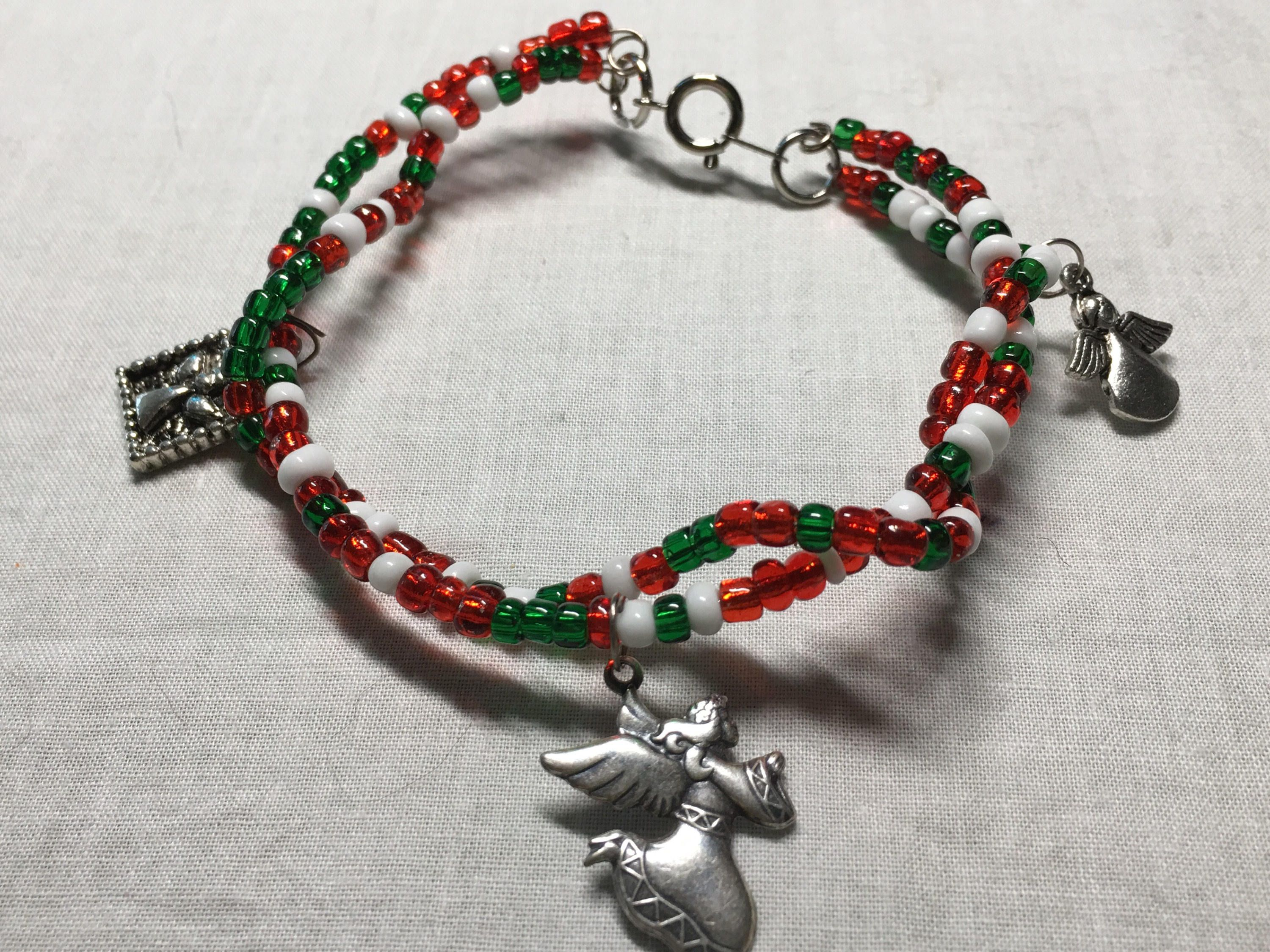 ON SALE Christmas silver Angel Beaded charm layered bracelet, red ...