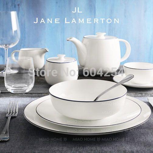 Free shiping 5-piece blue rim pure white fine bone china dinner set for wedding & Free shiping 5-piece blue rim pure white fine bone china dinner set ...