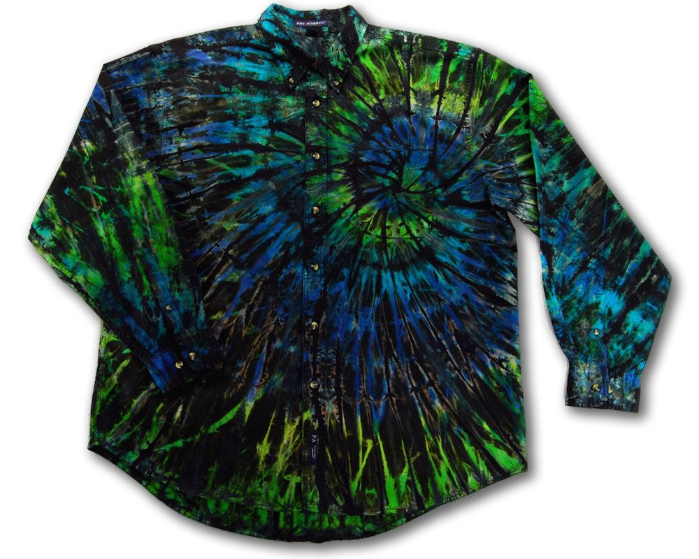 Size L star patches boho Dip Dyed Cropped Button Down Shirt with Stars one of a kind