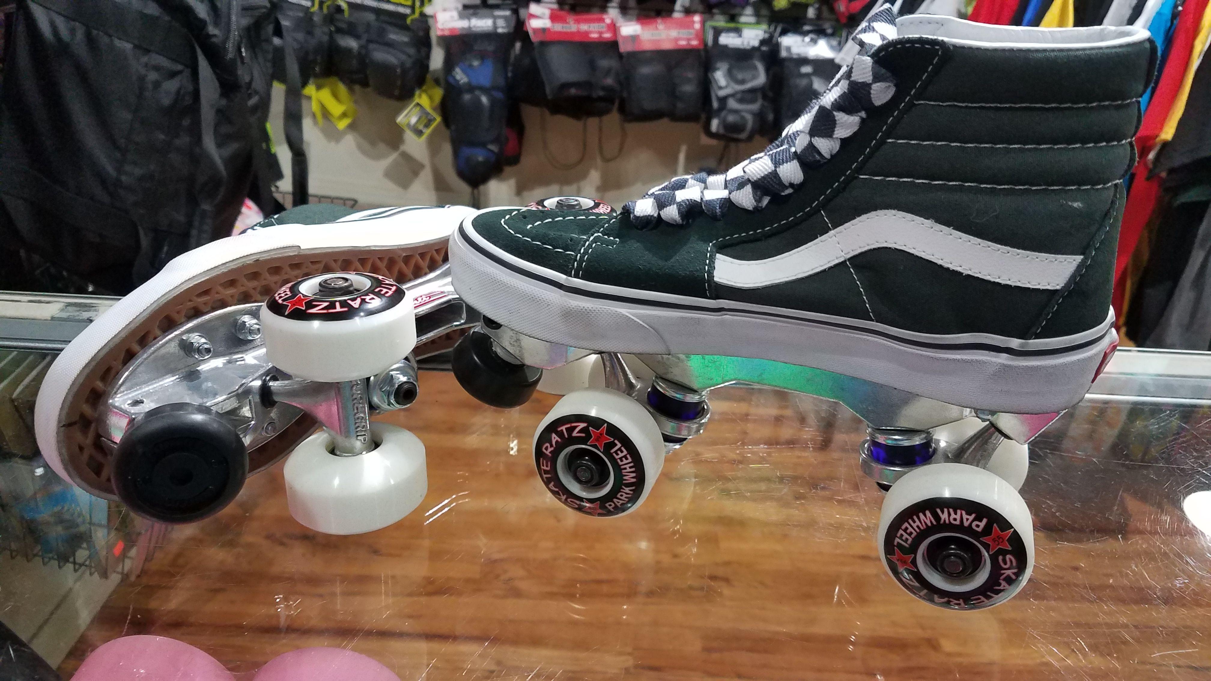 fe8776c96654 Vans Chicks in Bowls custom roller skates CIB skatepark skate. An Outdoor  set up with Vans Sk8 Hi shoes