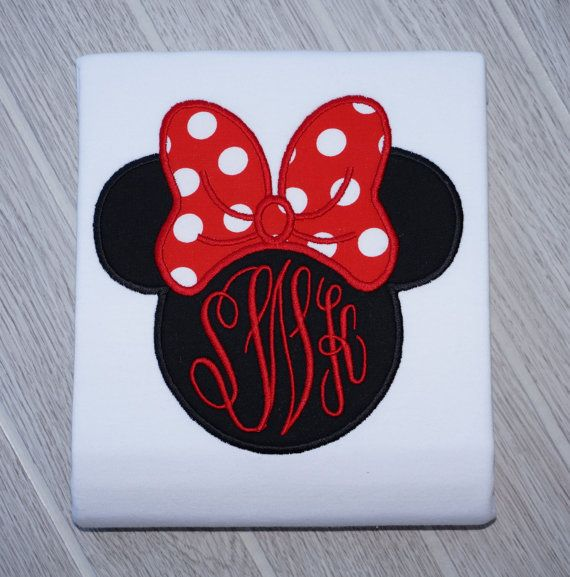 ceaa4838 Girls Personalized Minnie Mouse with Big Bow Disney Vacation Applique Shirt  FREE MONOGRAM