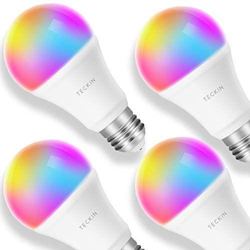 Smart Led Lampe Gluhbirne Teckin Wlan Birne E27 Rgb Bulb Mit Mehreren Farben Wifi Gluhbirne 800lm Steuerbar Via App Dimmbare Smart Light Bulbs Led Bulb Bulb