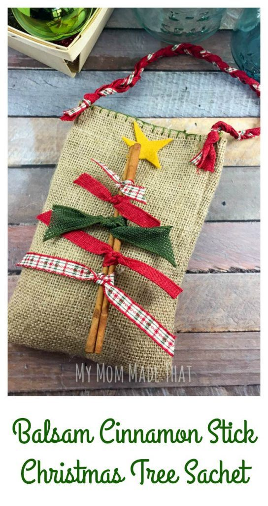 With Balsam Fir needles and cinnamon sticks, you can take a basic burlap pouch and ribbon to create a wonderful Balsam Cinnamon Christmas Tree Sachet.