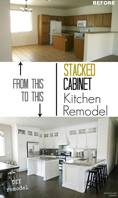Best Gorgeous White Kitchen With Diy Stacked Upper Cabinets And 400 x 300