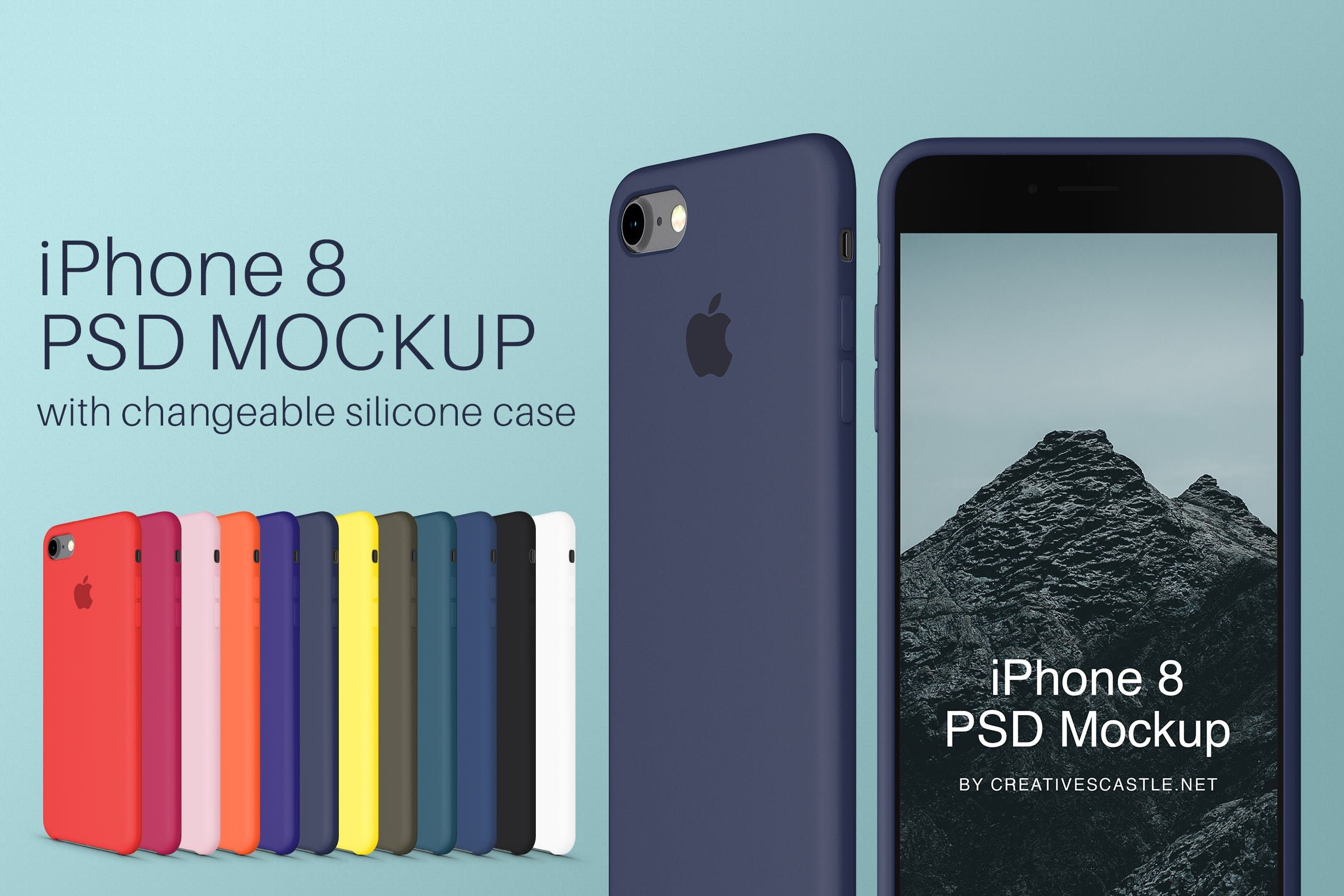 Iphone 8 Psd Mockup Silicone Cases Iphone Mobile Case Silicone Cover Color Mockup Psd Phone Apple Gadzhety