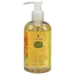 The Thymes Olive Leaf Hand Wash 8.25 oz. by Thymes. $15.00. With a rich creamy lather, it has the light spicey scent of Sardinian laurel leaf blended with balsamic lavender flowers, European patchouli and subtle wood notes.. Made in the USA.. This gentle hand wash cleanses without drying with added moisturizing olive oil, antioxidant olive leaf extracts and vitamin E.. Since hand washing can sometimes dry your skin, care for it instead with a wash as nurturing as ...