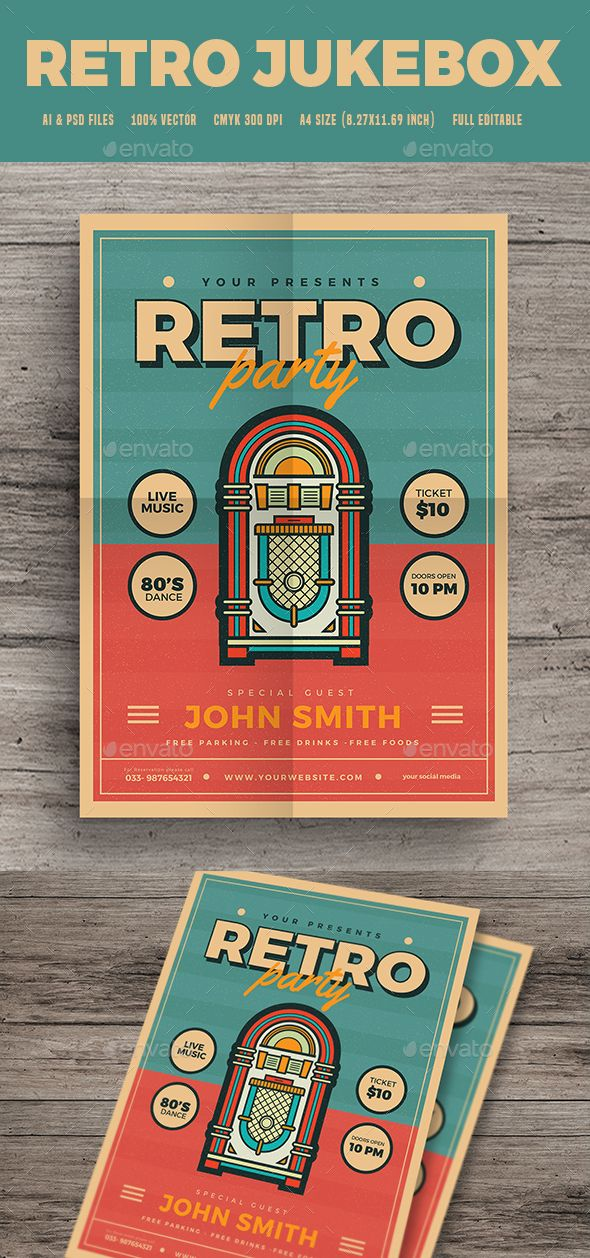 Modern Retro Jukebox Party Flyer Party songs, Party flyer and - retro brochure template