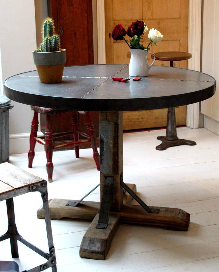 round zinc topped table on aged oak pedestal interior design rh pinterest com