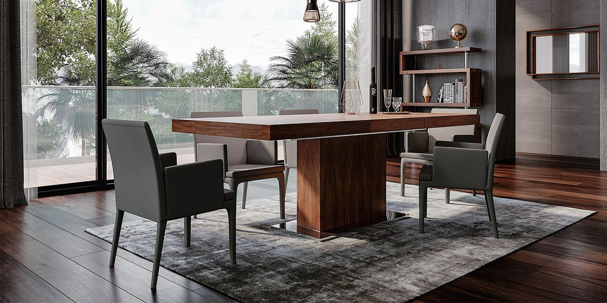 Palerma Extendable Dining Table Walnut In 2020 Extendable Dining Table Modern Dining Table Dining