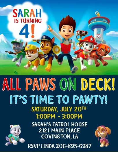 Paw Patrol Invitations 2 More 3 Year Old Birthday Party Boy 1st