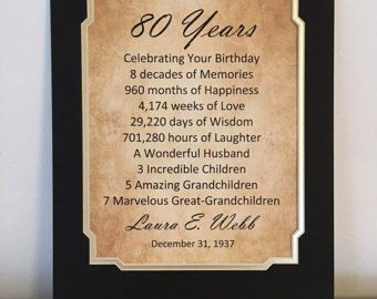 80th Birthday Gift Personalized Party Decor 85 X 11 Print 1937 80 Years Old For Grandpa Grandma Mom Dad