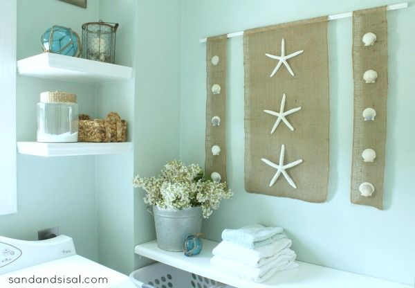 diy Wall Art coastal burlap craft Shell art Art walls and Burlap