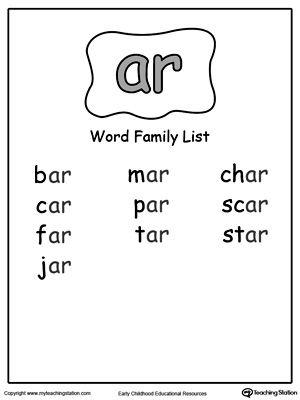 AR Word Family List | Phonics發音 | Word family list ...