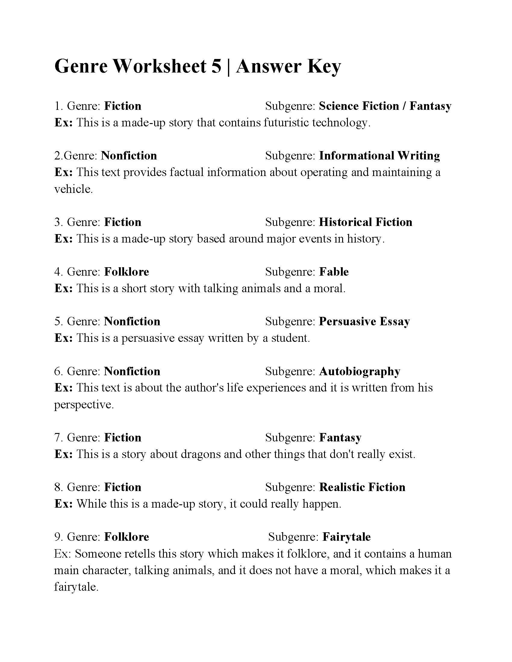 This is the answer key for the Genre Worksheet 5.   Author's purpose  worksheet [ 2200 x 1700 Pixel ]