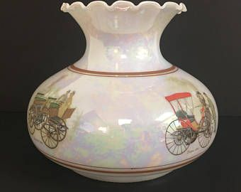 Vintage milk glass gwtw style lamp shade with iridescent finish and vintage milk glass gwtw style lamp shade with iridescent finish and antique cars graphics 7 aloadofball Gallery