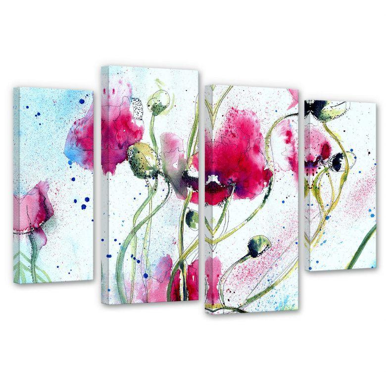 Leinwandbild Mohnblumen Aquarell 4 Teilig Mehrteilige Leinwand Mit Zarten Mohnblumen Dekorieren Sie Ihr Zimmer Mit Dem Leinwand Mohnblume Leinwandbilder