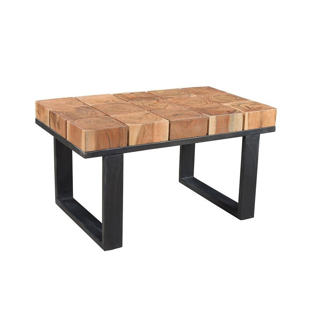 Buy Solid Acacia Wood Coffee Table with Iron Legs | GFURN at Scott &  Miller's for only $347.00 USD