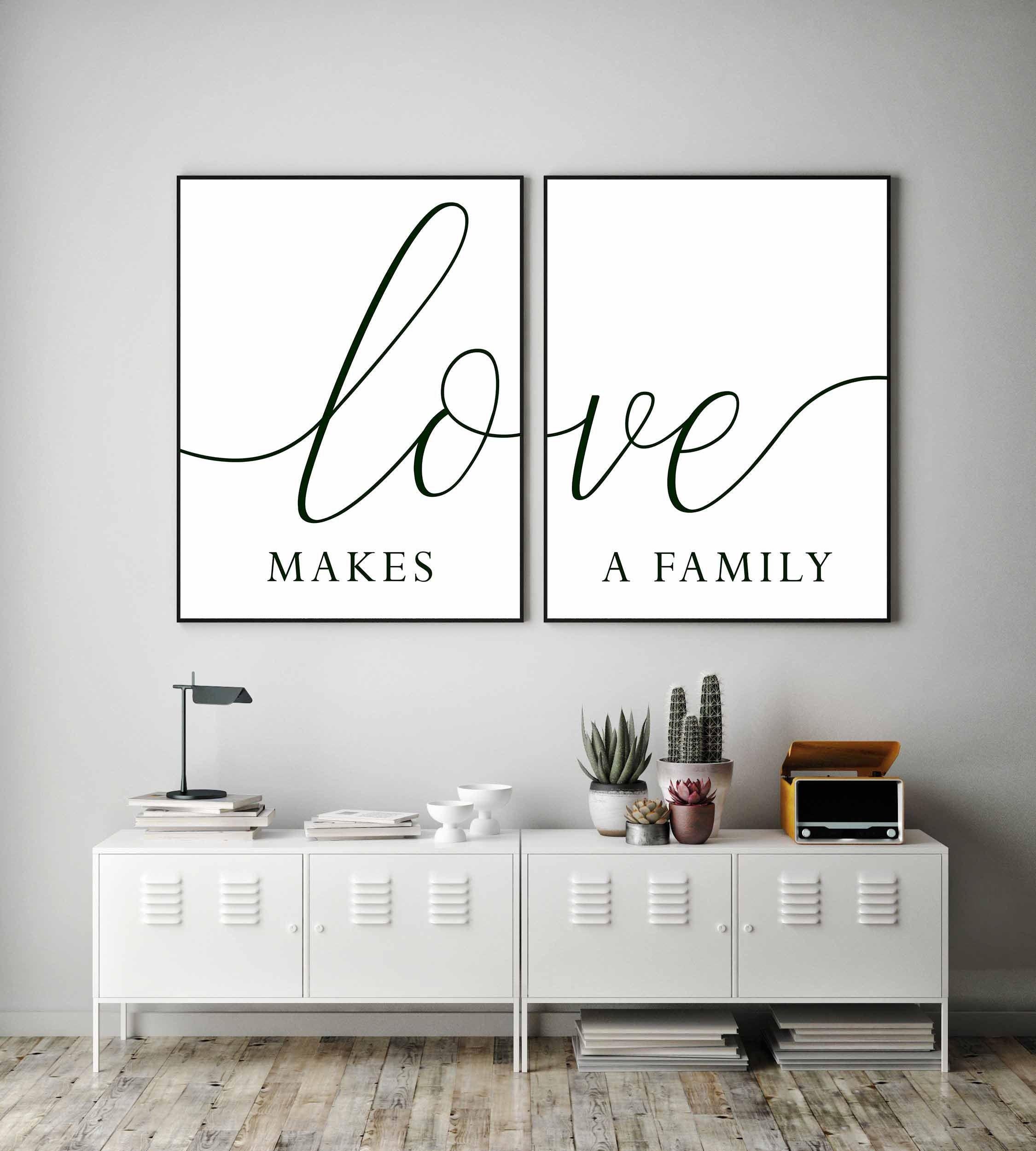 Family Signlove Makes A Family Printfamily Printsset Of 2 Etsy In 2021 Family Room Walls Bedroom Wall Art Wall Decor Bedroom