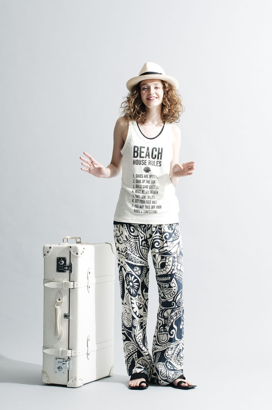 2015 S/S 026,Belgium Linen Jersey BEACH HOUSE RULES Tank, French Linen Dobby Geometric Print Calypso Pants