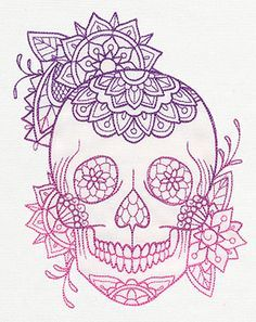 Intricate Flowers Decorate This Light Stitching Skull Design Complete With Beautiful Ombre Color Sugar Skull Tattoos Skull Coloring Pages Skull Design