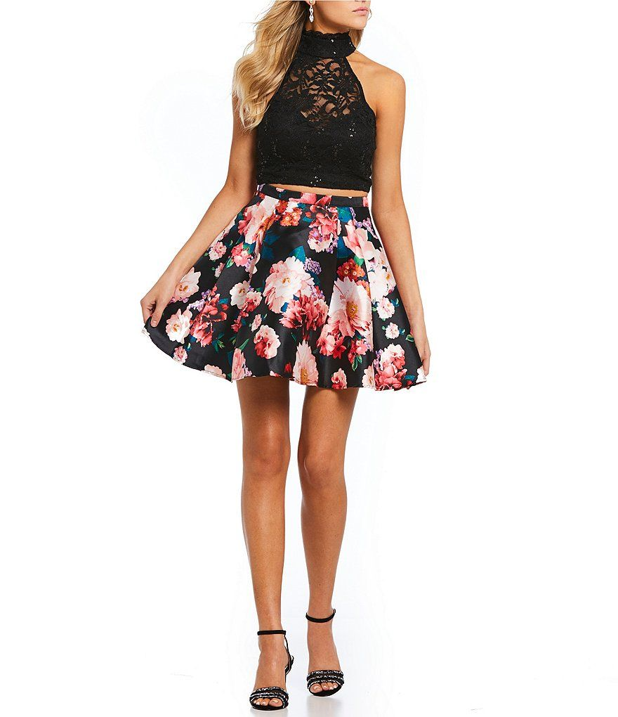 9a8028c12f B. Darlin Lace Top with Floral Skirt Two-Piece Dress