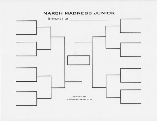 Jr Printable Brackets For The Kids To Be Used For Sweet 16