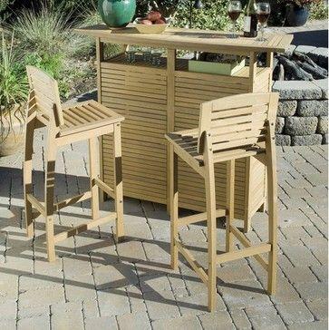 Great teak patio bar stool//table set