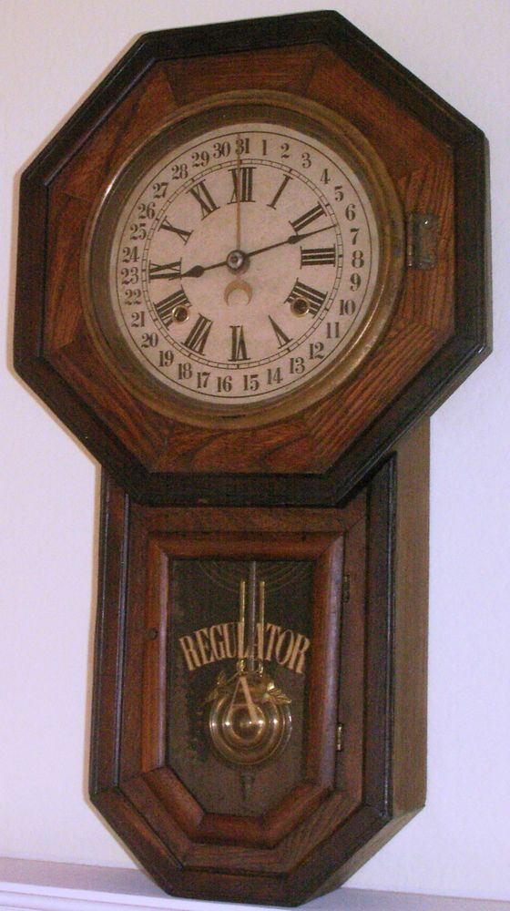 Antique Owari School House Wall Clock Regulator A 31 Day Octagon