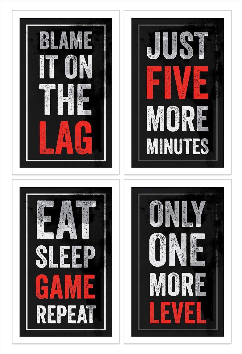 Funny Video Game Posters Set Of 4 Boys Room Wall Art Video Game Room Design Gamer Room Decor