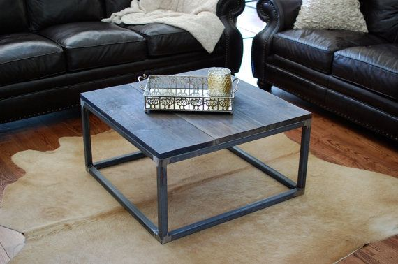 Wood Coffee Table Industrial Wood Table Living Room Furniture Square Tubing Metal Coffee Table Coffee Table