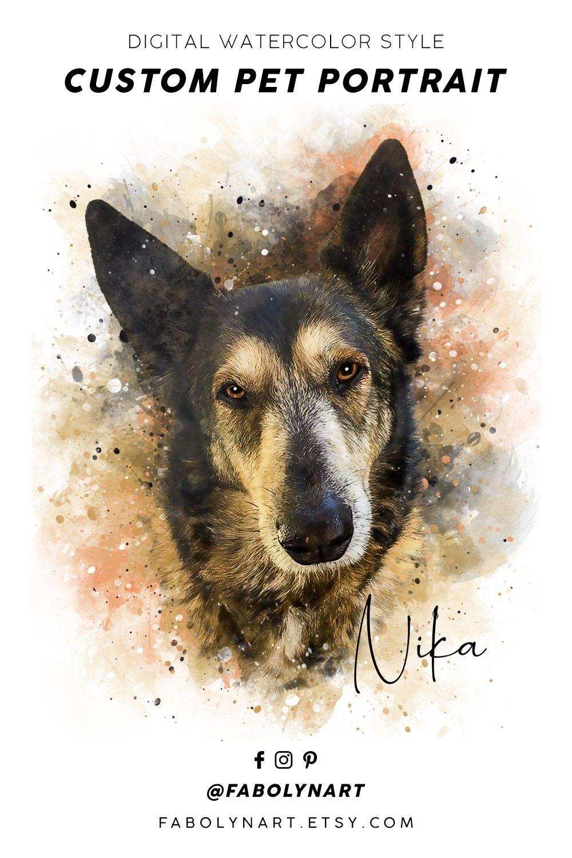 Digital Watercolor Custom Pet Portrait Order A Portrait For Husky