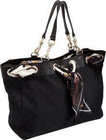 84a27651ce9 Gucci Positano Black Scarf Tote Bag