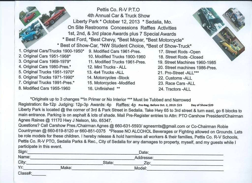 Th Annual Car Truck Show Pettis Co RV PTO - Car show sedalia mo
