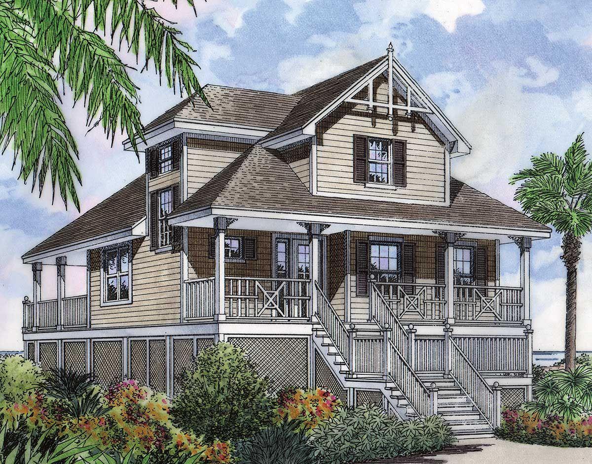 Plan 6387hd Seaside Fantasy In 2021 Beach House Flooring Beach Style House Plans Beach House Floor Plans
