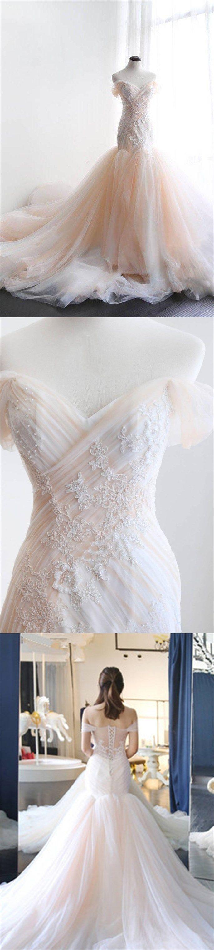 Sweetheart blush champagne off shoulder long mermaid evening dress