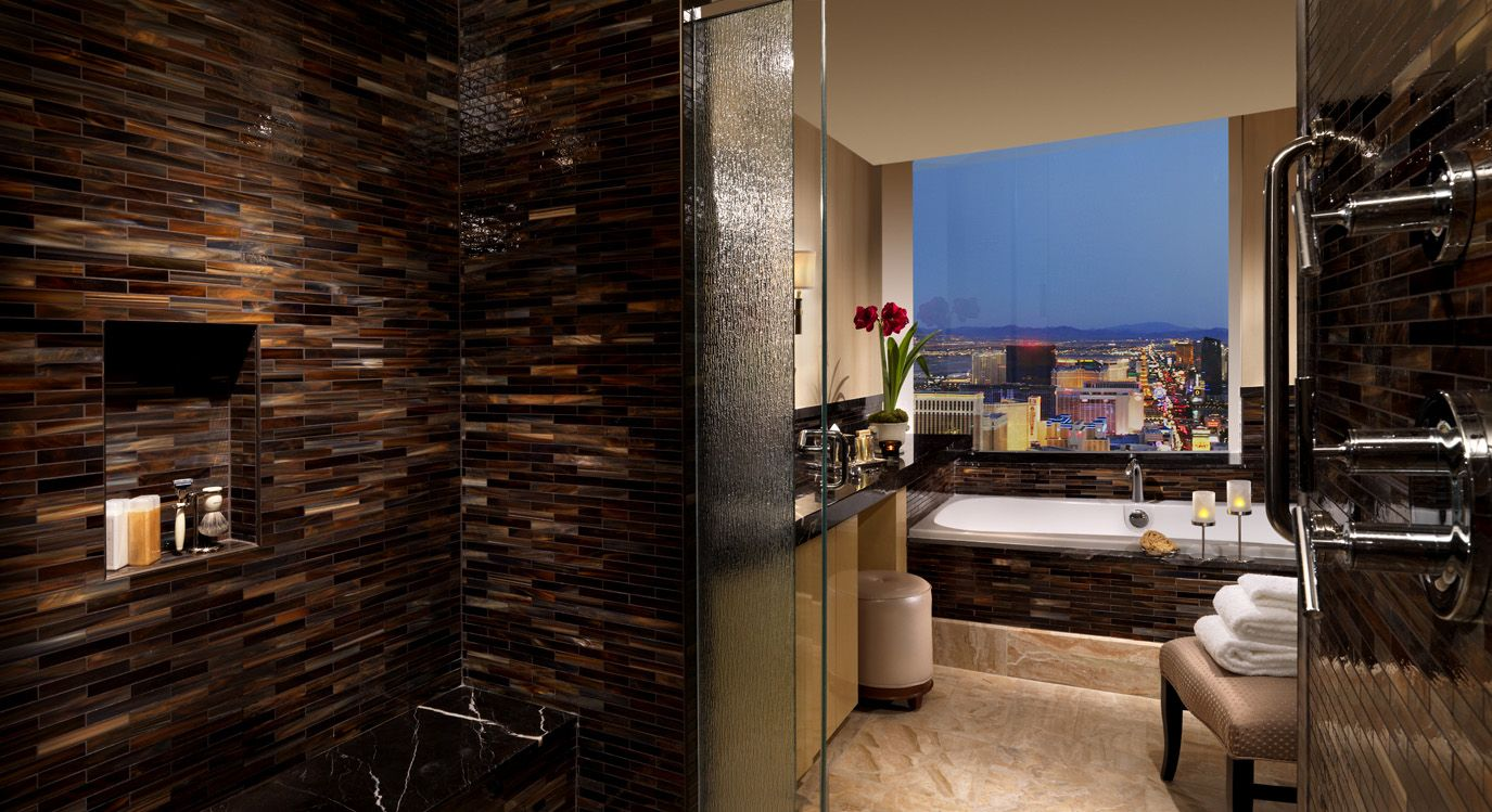Shower And Bathroom At Trump Las Vegas Luxurious Guest