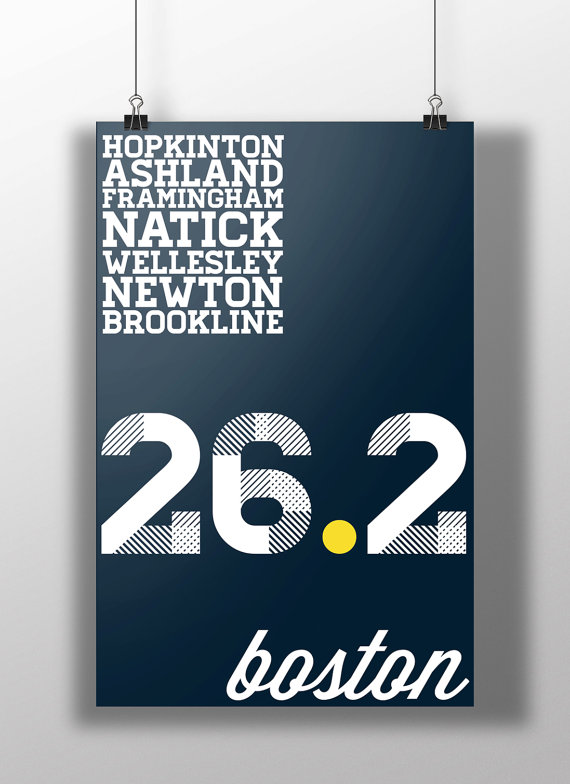 Running a marathon is impressive. Running the Boston Marathon deserves to be bragged about. Let everyone know you ran 26.2 miles in the worlds most prestigious road race. Print is 11x17 and comes with either a matte or glossy finish.