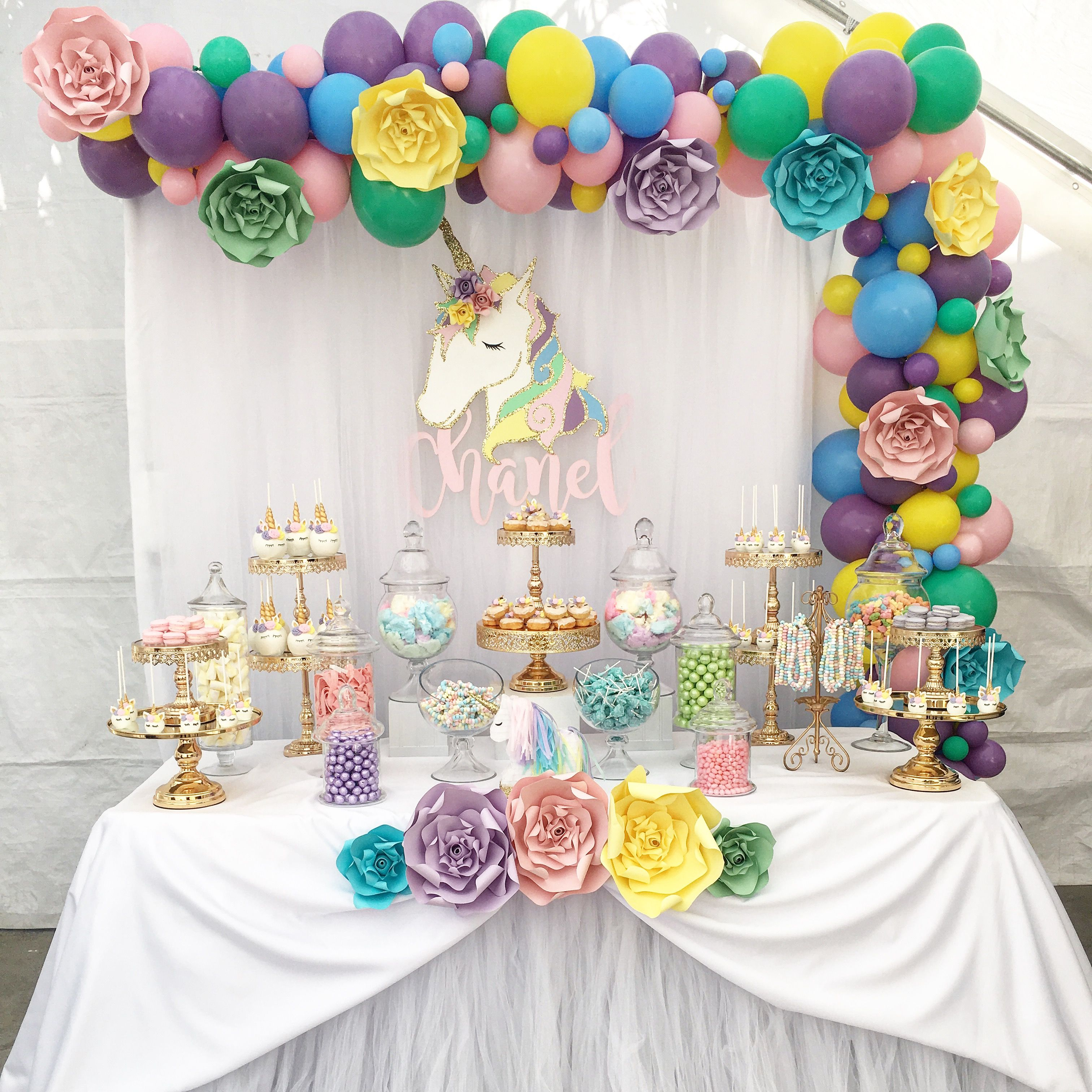 Unicorn Candy Buffet By Bizzie Bee Creations Party Paper Flowers Unicorn Dessert Table Unicorn Party Decorations