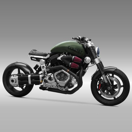 Confederate Motorcycle's X132 Hellcat Combat, Limited Edition of 36. 2163cc custom X132 Combat fuel injected V-twin, 160 foot pounds of torque, 160 BHP.